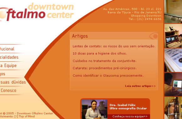 Downtown Oftalmo Center – website versão 2005